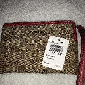 Coach Outline Corner Zip Wristlet Khaki/True Red